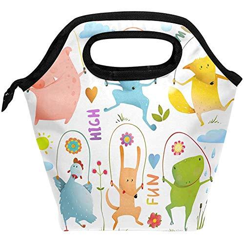 Lunchbox Springseil Hund Frosch Hase Schwein Henne Fuchs Wiederverwendbare Isolierte Schulspeisetasche Für Frauen Kinder