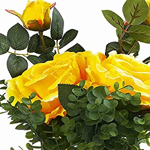 enova home 2 large silk roses flower and mixed greenery in clear glass vase with river rock (yellow) silk flower arrangements