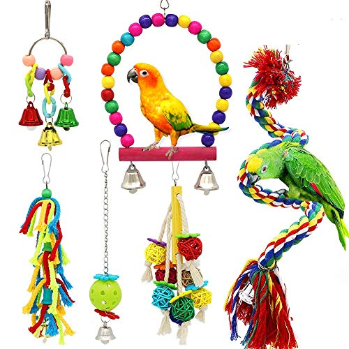 Small Bird Swing Toys, 6 PCS Parrots Chewing Natural Wood and Rope Bungee Bird Toy for Anchovies, Parakeets, Cockatiel, Conure, Mynah, Macow and Other Small Birds