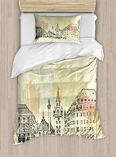 ABAKUHAUS Duitsland Dekbedovertrekset, München Oude Stadhuis Schets, Decoratieve 2-delige Bedset met 1 siersloop, 130 cm x 200 cm, Pale Yellow Black