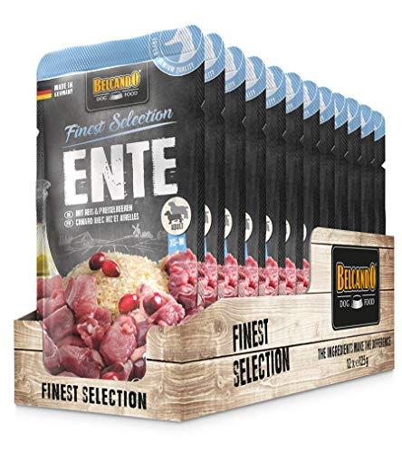 Belcando Frischebeutel [12x125g Ente mit Reis & Preiselbeeren] | Nassfutter für Hunde | Feuchtfutter Alleinfutter im Einzelportionsbeutel