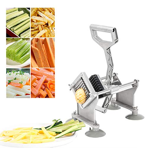 ROVSUN Commercial Grade French Fry Cutter Fruit Vegetable Potato Slicer, Super Value Set of Suction Feet,1/2-Inch,3/8-Inch,1/4-Inch Blades and Pusher Blocks & 8-Wedge Blade Pusher kit
