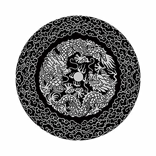 Alfombra para Silla Gaming, Chickwin Alfombrilla Redonda para Silla, Protector De Suelo para Dormitorio y Oficina, Resistente Al Desgaste,Antideslizante - Estilo Chino (Dragon Blanco,80cm)