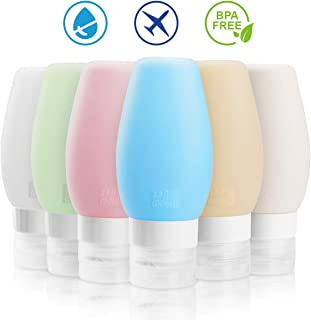 Travel Bottles TSA Approved, FORTGESCHE BPA Free Silicone Squeeze Leak Proof Refillable Travel Size Cosmetic Toiletry Containers Accessories for Shampoo Lotion Liquids(6 Pack) (90ml/ 3oz)