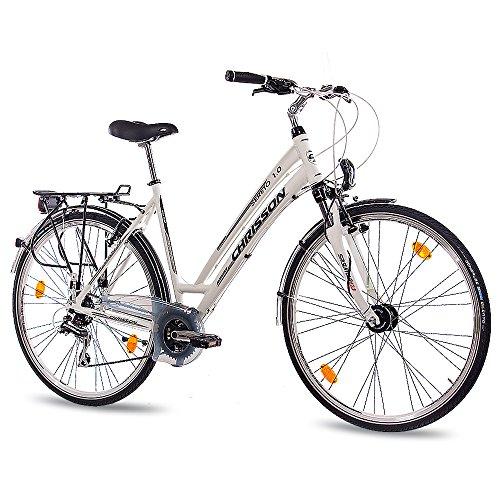CHRISSON 28 Zoll Damen City Bike - Sereto 1.0 Weiss - Damenfahrrad mit 24 Gang Shimano Acera Kettenschaltung und Nabendynamo, Trekkingfahrrad mit Suntour Federgabel