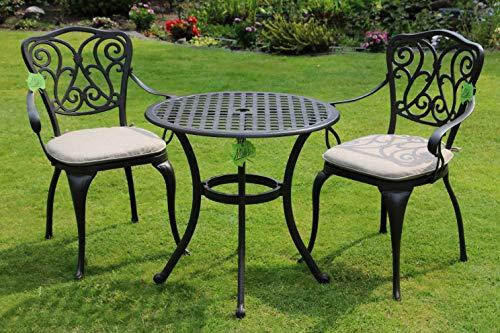 Made for us Alu-Gartenmöbel-Set Gartentisch Ø 70 cm und 2 Gartenstühle aus wetterfestem Aluguss mit UV beständiger AkzoNobel Einbrennlackierung. Inkl. 2 waschbaren Sitzkissen.