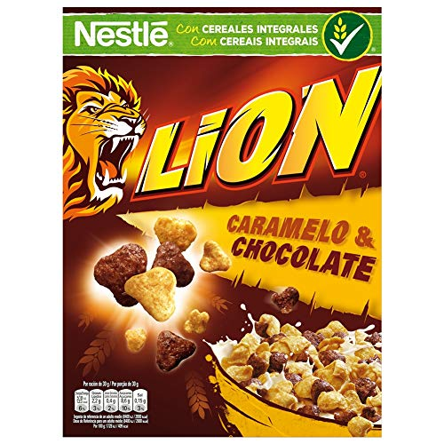 Cereales Nestlé Lion - Cereales de trigo y arroz tostados con crema de caramelo y chocolate - 400 gr