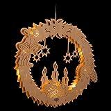 ERM Holzmanufaktur 3D Fensterbild Lichterkranz beleuchtetes Fensterbild aus Holz für Weihnachten Advent Weihnachtsdeko