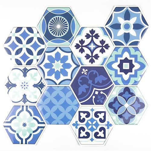 Unishop Set 6 Láminas de Azulejos Adhesivos Hexagonales para Pared, Efecto 3D e Impermeables, Vinilo Decorativo de Mosaicos con Pegatina para Cocina y Baño (Tipo 1)
