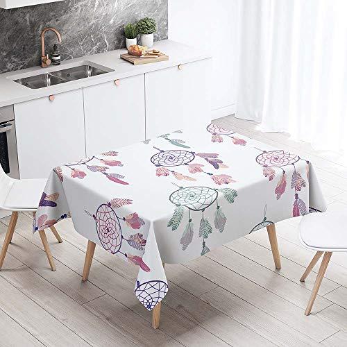 Mantel para Mesa Impermeable Antimanchas, Chickwin Cocina Salon Comedor Rectangular Resistente al Desgaste Lavable Mantel de Tela de Poliester Impresion 3D (Atrapasuenos purpura,140x180cm)