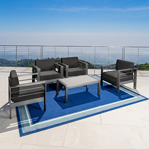 Christopher Knight Home Crested Bay Patio Furniture | Outdoor Grey Aluminum 5 Piece Club Chair Chat Set with Dark Grey Water Resistant Cushions