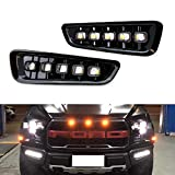 iJDMTOY White/Amber Switchback LED DRL Fog Light Kit Compatible With 2017-up Ford Raptor, 5-Lamp Assembly w/Turn Signal Feature