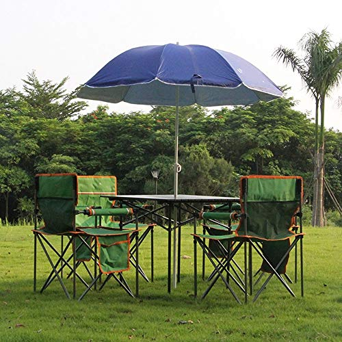 TYZXR Mesa Plegable Ajustable y Juego de sillas de combinación de Mesa y sillas de Aluminio para Camping, Barbacoa, Playa, 4 Colores Opcionales, se Puede Girar (Color: B)