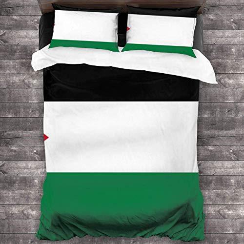 shenguang Bandera de Palestina Juego de Cama de 3 Piezas, edredón para Todas Las Estaciones con 2 Fundas de Almohada, Colcha Suave con Cremallera, sin edredón 86