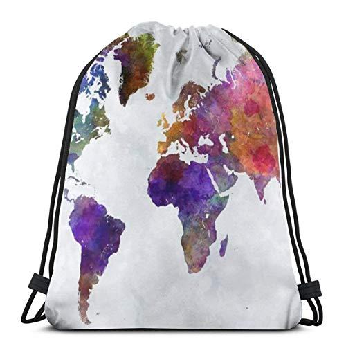 ewretery Framed Picture Colorful World Map 3D Print Drawstring Backpack Rucksack Shoulder Bags Gym Bag for Adult 16.9'X14'