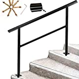 Yahpetes Handrail 1 Pcs Aluminum Rail Fits 1 to 3 Steps Black Transitional Handrail 44.9'X35.5' Handrail Stair Rail with Installation Kit for Outdoor Or Indoor Steps,Black