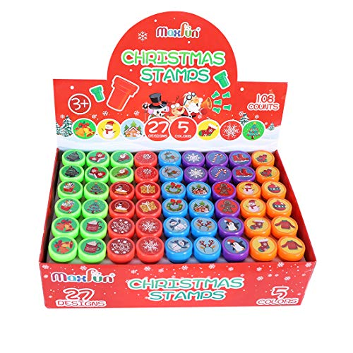 Max Fun 108Pcs Christmas Assorted Stamps ( 27 Designs, 5 Colors Trick or Treat Stamps ) for Kids Christmas Party Favors Supplies, Goodies Bags, Classroom Game Reward Prizes(Christmas Stamper)