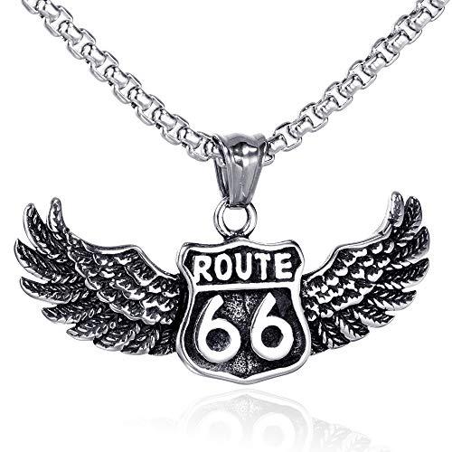 WJMSS Männer Route 66 Charm-Anhänger-Halskette der Edelstahl-316l Hip Hop Us Highway Legende Biker Straße Flügel Halskette Schmuck