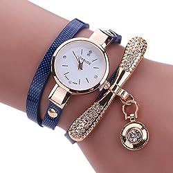 Dark Blue Leather Rhinestone Analog Quartz Wrist Watch