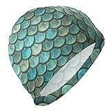 Wodann Gorro de baño Patrón de Escala Vintage Gorro de natación geométrico para Hombres Niños Adultos Jóvenes...