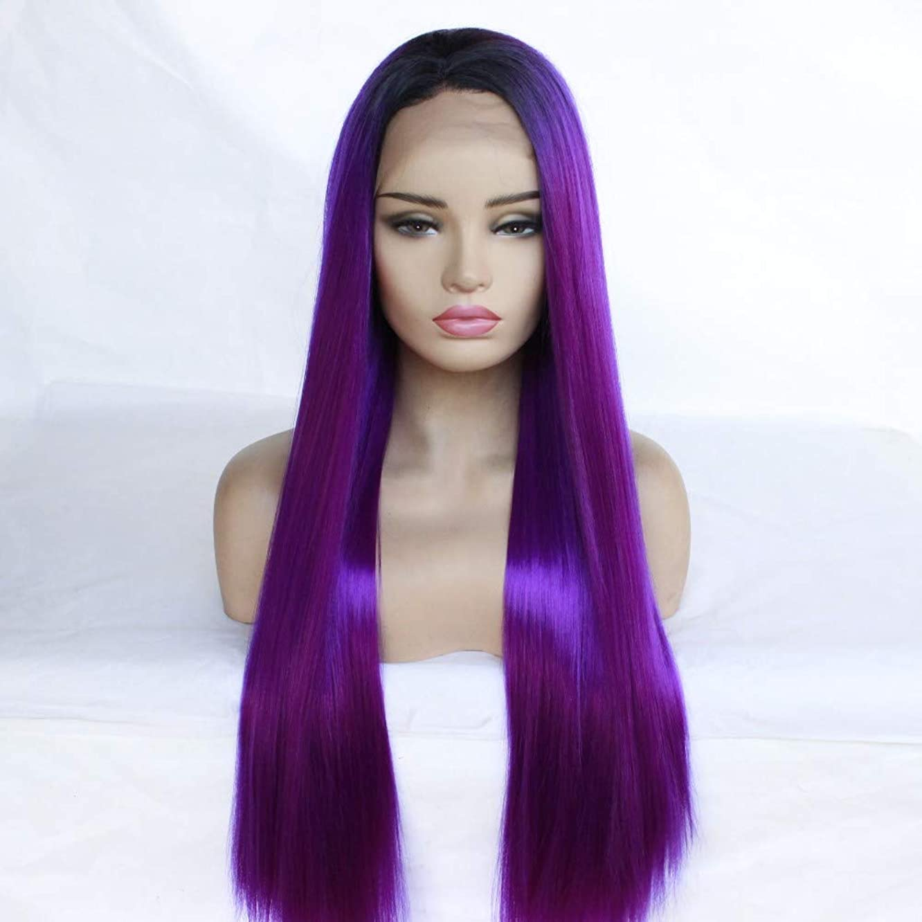 BAOFU Wig Wig Female T Purple Gradient Front Lace Chemical Fiber Long Straight Hair Wig Head Cover 55Cm 300G