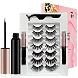 Eyelash Reusable Magnetic Eyelashes Natural Look, Magnetic Eyelash Kit with Magnetic Eyeliner Waterproof,Magnetic Eyeliner Kit,Lashes for women, False Eyelashes with Tweezers Eyelash Easy 7 Style