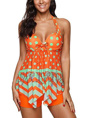 Traje de baño de dos piezas para mujer con estampado retro y estampado de rayas florales, tankini con pantalones cortos de baño - Naranja - 36-38