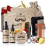 Kit Cuidado de Barba 8pcs GLAMADOR - Aceite Barba, Bálsamo, Champú, Peine, Peine de Plantilla, Cepillo, Tijeras, Bolsa - Juego de Regalo Perfecto para Hombres