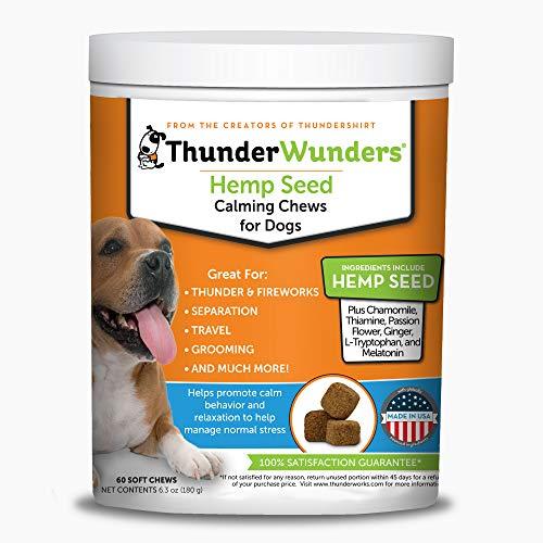 ThunderWunders Beruhigendes Kauspielzeug für Hunde, aus Hanf, Thiamin, L-Tryptophan, Melatonin und Ingwer (60 Stück)