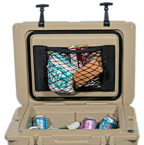 Cooler Net for Dry Storage + Organization | Compatible with Yeti, Coleman, Igloo, Pelican, Canyon, Grizzly, Lifetime Ice Chests | Strong Camping Accessory, Trimmable for Custom Fit | Boating Equipment