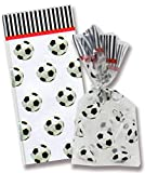 AoneFun Soccer Cellophane Party Favor Bags with Red Twist Ties - Sports Party Loot Bags - Treat Goody Bags - Treat Sacks - Set of 8 Bags