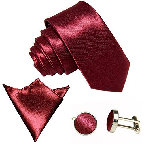 GASSANI Juego de 3 corbatas, 29 colores satinados, 8,5 cm de ancho, pañuelo rojo vino, burdeos, rojo Medium