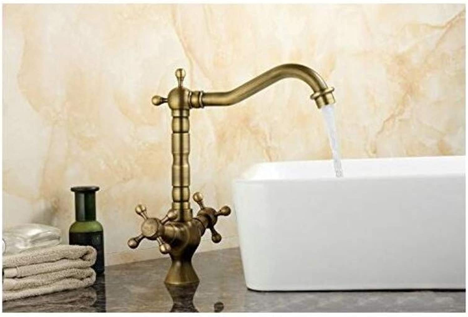 Luxury Vintage Plated Faucet Antique Polished Kitchen Faucet Brass Hot&Cold Sink Mixer