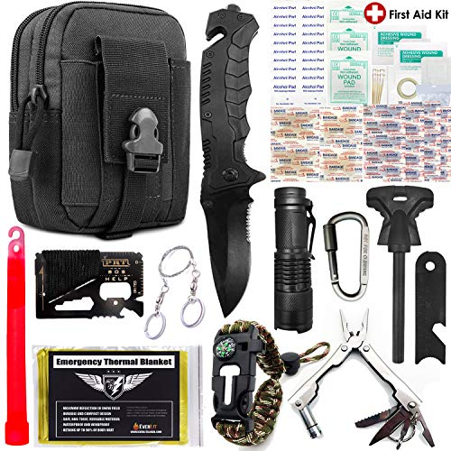 EVERLIT Survival Kit, 80-in-1 Outdoor Gears Tactical Tools Emergency Kit, First Aid Kit, Flashlight, Survival Bracelet, Emergency Blanket, Tactical Pen, for Camping, Hiking, Hunting (Black 80-in-1)