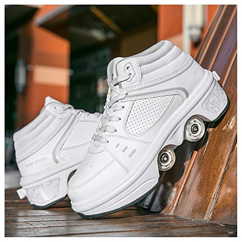 WJJ Patines Invisibles Patines De Hielo Zapatos De Polea LED Multifuncional Deformación Rodante Patinaje Quad Patinaje Deportes Al Aire Libre para Adultos Patines de Ruedas para niños