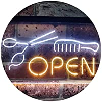 Hair Salon Scissor Comb Cut Wall Décor Dual Color LED看板 ネオンプレート サイン 標識 白色 + 黄色 400 x 300mm st6s43-i2087-wy