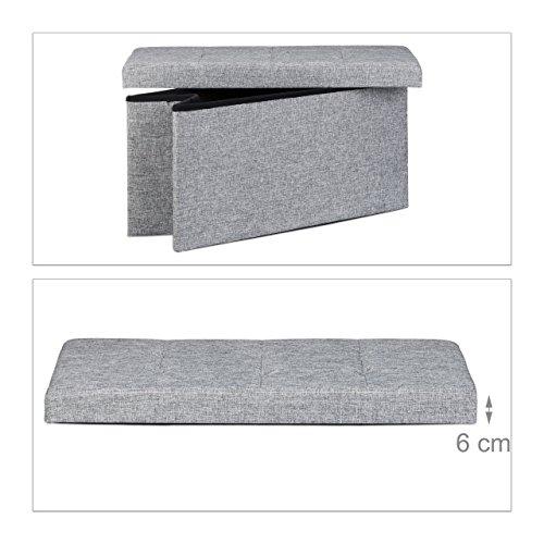 Relaxdays faltbare Sitzbank XL, Leinen, grau, 76x38x38cm - 5