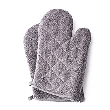 Terry Oven Mitts 7 x 13 , Heat Resistant for Everyday Kitchen Gloves Basic Oven Mitts, Set of 2 by Jennice House (Grey)