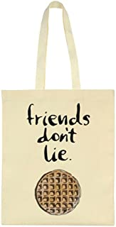 Friends Don't Lie Minimal Waffle Design Tote Bag
