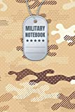 Military Notebook Dog tag (Brown): Army Green Military, Soldier tag, Marine Corps, Navy, Air Force, and Coast Guard Terms for US Military War Veterans