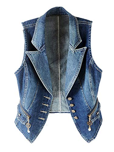 Kedera Women's Lapel Washed Blue Denim Vest Button Up Waistcoat Jacket(X-Large)