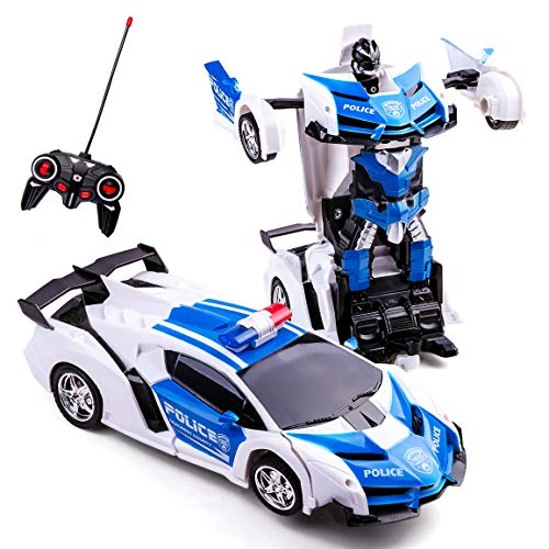 Refasy Deformation Car for 7-11 Years Old Kids,Transforming Car Robot Vehicle Toy Police Car for Boys Remote Control Drifting RC Racing Car Best Birthday Xmas Gift Deformation Toys Cars for Kid White
