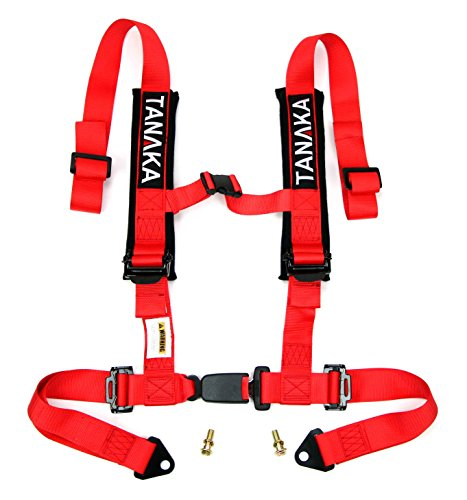 Tanaka Phantom Series Buckle 4 Point Safety Harness Set with Ultra Comfort Heavy Duty Shoulder Pads Red (for One Seat)