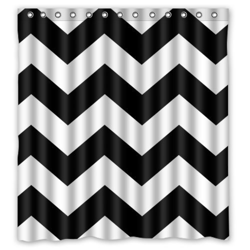 YEHO Art Gallery Black and White Chevron Zigzag Pattern Waterproof Bathroom Shower Curtains Shower Rings Included - Polyester Fabric- 66 x 72 Inch