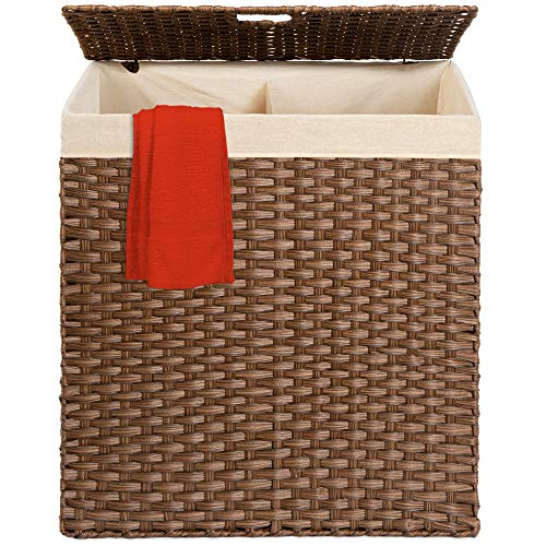 wicker hamper with liner and lid - 6