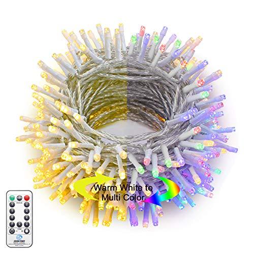 Hezbjiti 300 LED Guirnaldas de Luces, 30m Guirnalda Luminosa 9 Modos con Conector Luces de Cadena para Navidad Fiestas Jardín Balcón Halloween Boda Iluminación Decorativa (Blanco Cálido a Multicolor)