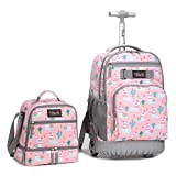 Tilami Rolling Backpack 19 inch with Lunch Bag Wheeled Laptop Backpack, Alpaca
