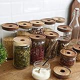 BESTonZON Vorratsglas aus Borosilikatglas Vorratsgläser Glas-behäler Einweck-Glas mit Bambus-Deckel