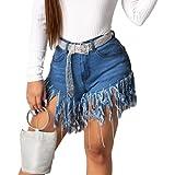 Zestion Pantalones Cortos de Mezclilla con borlas artesanales con Personalidad para Mujer Pantalones Cortos Rectos Lavados a la Moda de la Calle con Tapeta con Cremallera Small