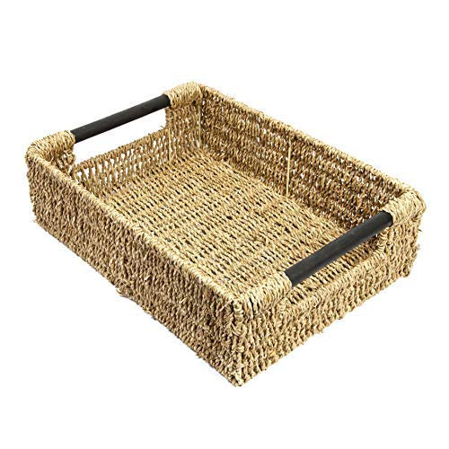 woodluv Seagrass Storage Basket With Wooden Handles Large(E01-101L)